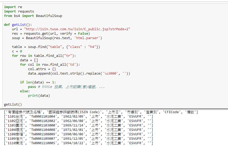 stock crawler - [Python] 抓取證券編碼一覽表