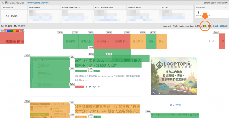 pageanalytics3 768x396 - 網站分析必備工具,透過 Google Page Analytics 套件顯示熱點圖 Heat Map